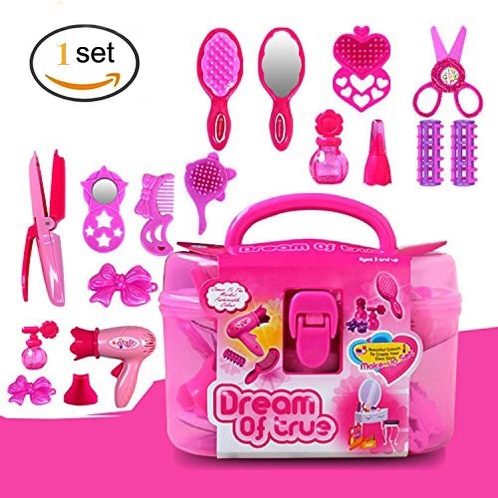 Eqlef Frisuren Set Pink Simulation Friseur Kosmetik Beauty Koffer Toys Spielzeug 17pcs Rollenspiel
