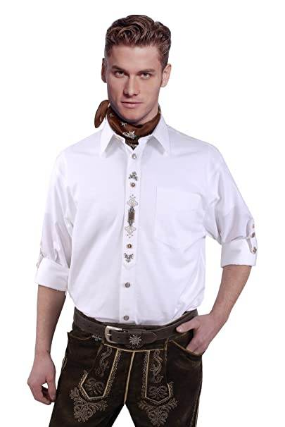 b41a372a9c76f Moschen-Bayern Herren Hemd Trachtenhemd Langarm Kurzarm Wiesn Hemd Trachten  Männer Oktoberfest Weiß