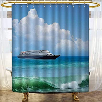 Anhounine Nautical Shower Curtains Fabric Traveling Themed View Of Ship In The Aquatic World With Fluffy