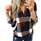 Women's Roll Up Long Sleeve Flannel Plaid Pullover Sexy V Neck Slim Tops Casual Loose Boyfriend Tunic T Shirts Blouses