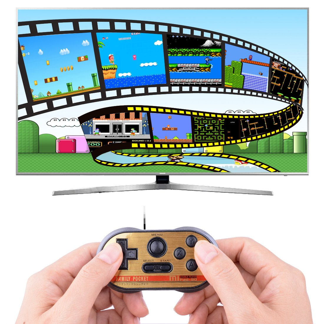 Retro TV Games Controller Classic Handheld Game Console for Kids Gamepad Joystick Load in 260 Video Games Plug and Play Gaming Station (Black)