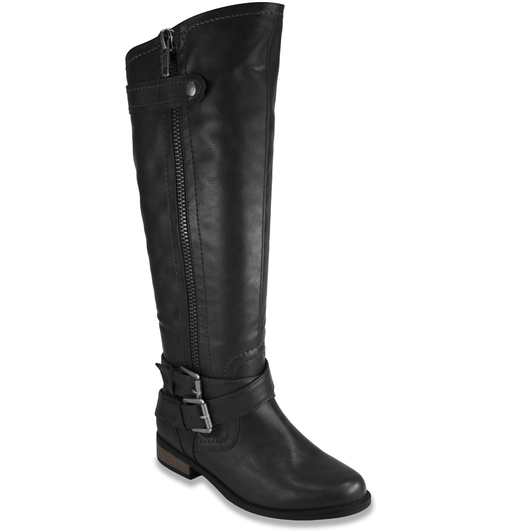 London Fog Womens Hillary Zipper and Buckle Knee High Riding Wide Calf Boot Black 11