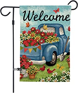 GOAUS Welcome Flower Old Truck Daisy Bird Butterfly Floral Garden Flag,Summer Double Sided Burlap Decorative House Flags for Home Lawn Yard Indoor Outdoor Decor,12 x 18 Inch