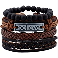 Impression Latest Natural Stone Beads Inspirational Believe Words Fashion Set of 4 Genuine Leather Multi Strand Bracelet Wrist Band for Men's and Boys (Multi-Color)
