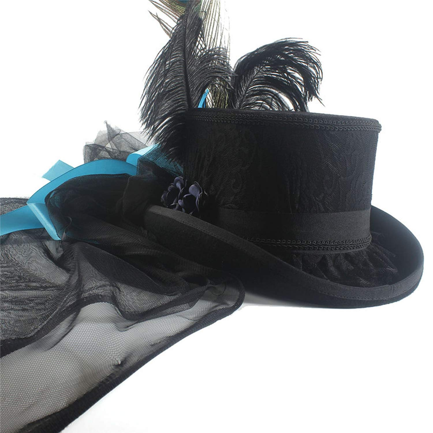 62285078257ba Black Wool Women Bride Steampunk Fedora Top Hat Lady Mesh Traditional  Beaver Feather Party Wedding Hat at Amazon Women s Clothing store