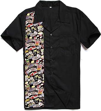 Candow Look Camisa de Hombre Casino Pattern Algod¨®n Camisas ...