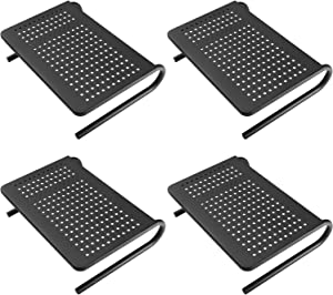WALI Monitor Riser Desktop Stand with Vented Metal and Underneath Storage for Computer, Laptop, LED, LCD, OLED Flat Screen Display, iMac and Printer (STT001-4), 4 Packs, Black
