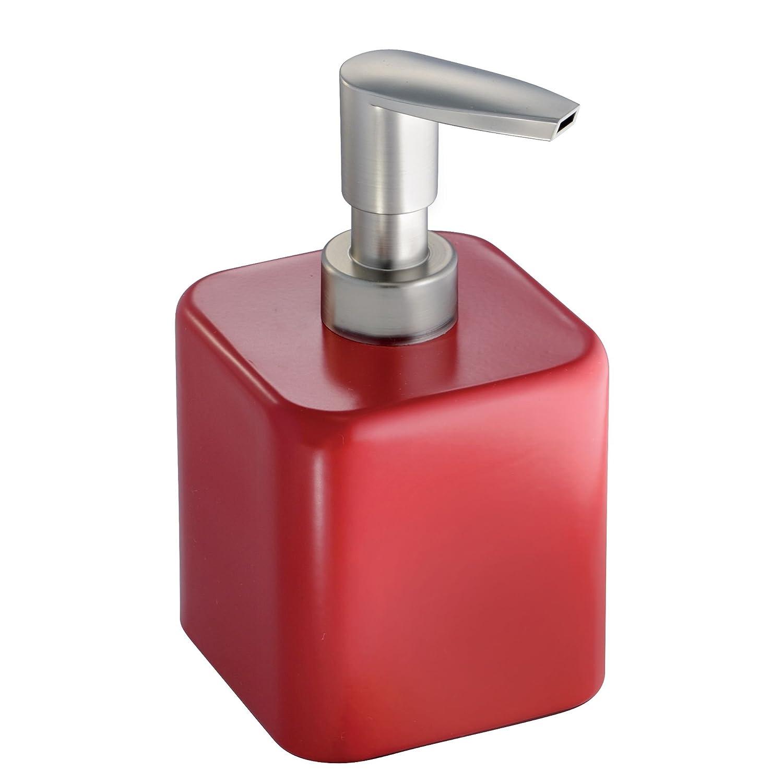 mDesign dispenser sapone ricaricabile – quadrato - colore rosso – perfetto per il bagno e la cucina – capacità 414 ml MetroDecor 2366MDBAEU