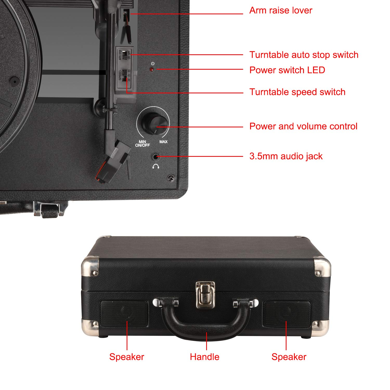 DIGITNOW! Tocadiscos Plato giradiscos Plato Vinilo 33/45/78 RPM, Maleta Portátil con 2 Altavoces Integrados, Grabador de Vinilo a MP3, USB Reproductor ...