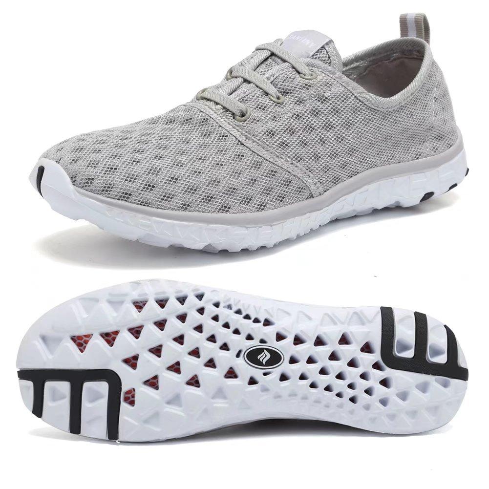 CIOR Fantiny Men Quick Drying Aqua Water Shoes Slip-On Athletic Sport SneakersXLSX01-Grey-44