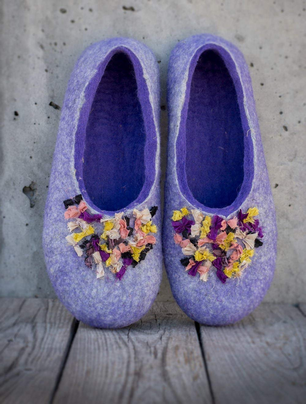 BureBure Women Felted Wool Slippers with Indian Silk Ribbons Handmade in Europe