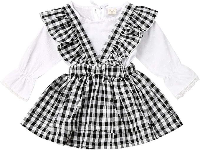 GWJGOGO Conjunto de Falda de Tirantes para bebés y niñas, 2 Piezas ...