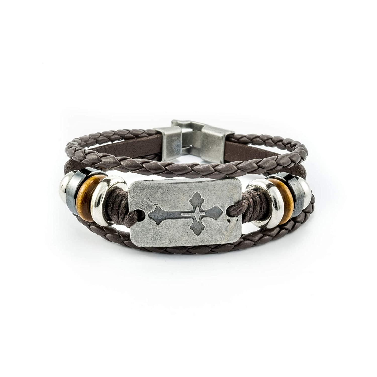Women's Men's Brown Leather Wrap Christian Inspirational Beaded Alloy Cross Bracelet - 8 inches - HS-LCB014-BR Heavensentgifts
