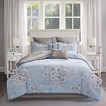 8 Pièces Bleu Gris Motif Floral Doudou Queen Ensemble, Gris Bleu Ciel  Nature Bouquet De