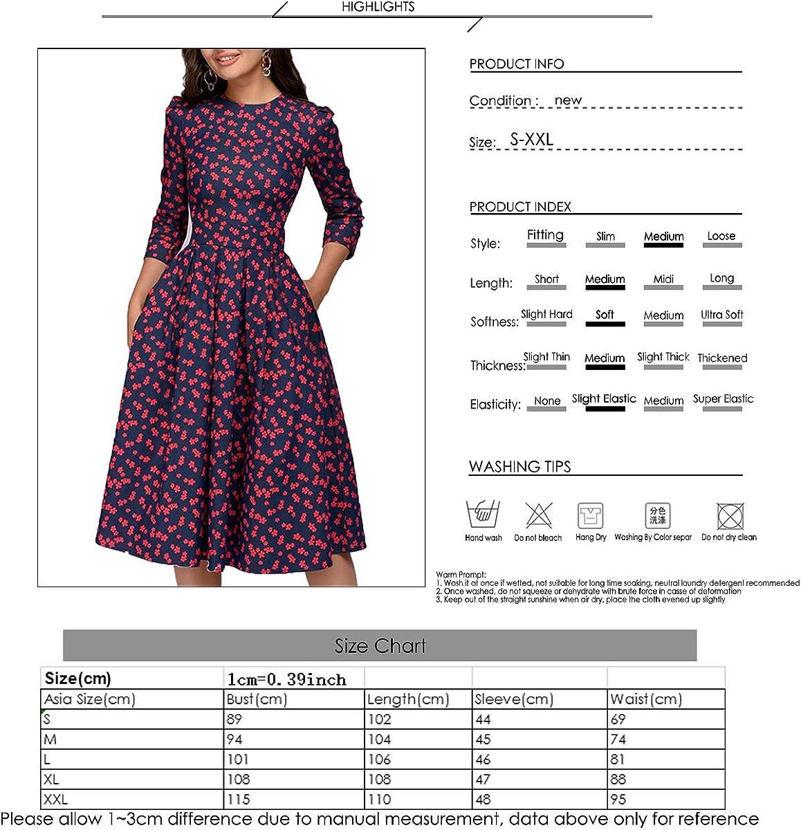 Tianhaik Vestidos Florales de Las Mujeres Verano Vintage Impreso 3//4 Manga O-Cuello Vestido de Una Pieza para Ni/ñas S-XXL