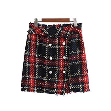 7d30e490e2 Vintage Plaid Tweed Mini Skirt Fringe Tassel Buttons Back Zipper Faldas  Mujer Female Casual Chic A Line S at Amazon Women's Clothing store: