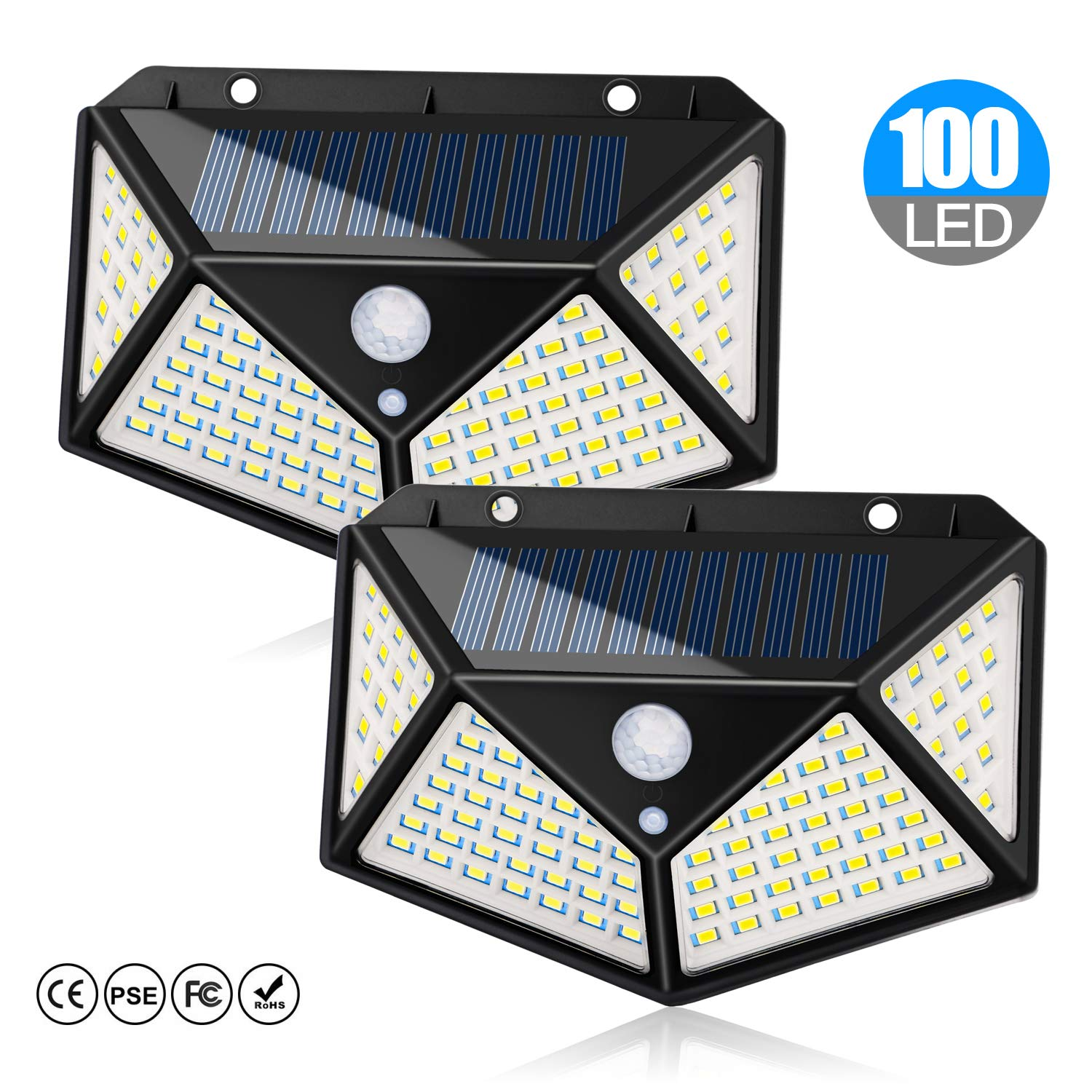 Solar Lights Outdoor 100 LEDs Solar Motion Sensor Light Outdoor 1000 Lumens Waterproof Security Wall Night Light with 3 Modes 270° Wide Angle for Garden, Patio Yard, Deck Garage, Fence, Porch - 2 Pack