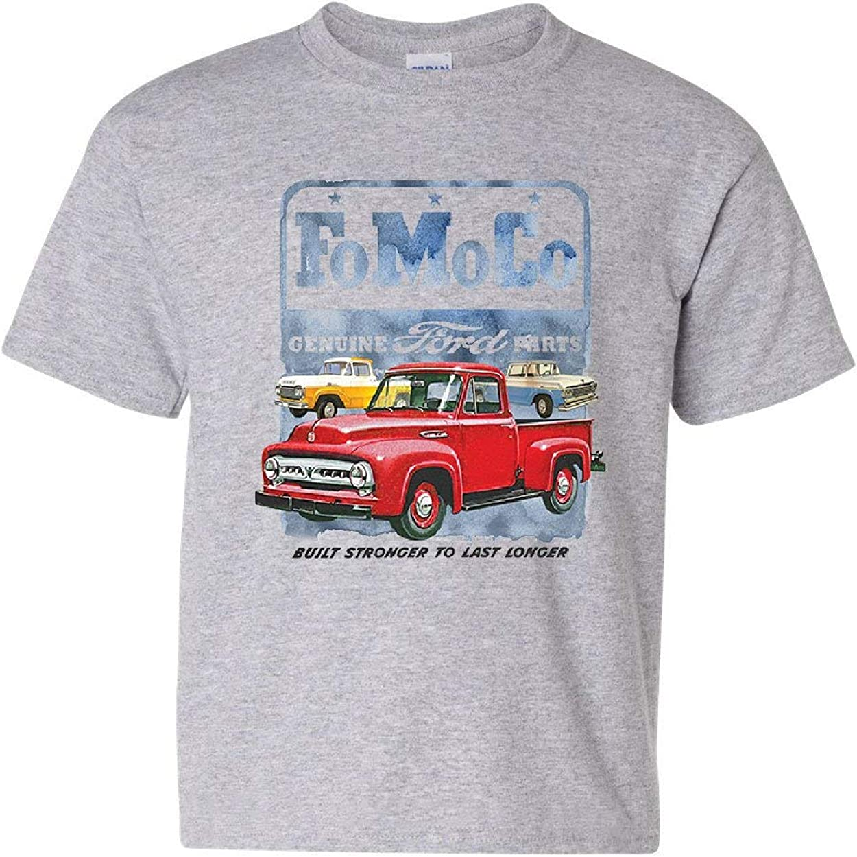 FoMoCo Ford Motor Company Youth T-Shirt Built Stronger to Last Longer Kids Tee