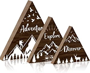 Jetec 3 Pieces Woodland Adventure Decor Wooden Mountain Decor Adventure Explore Discover Wall Sign Wooden Woodland Nursery Decor Inspirational Quote Mountain Forest Triangle Hanging Sign Decoration