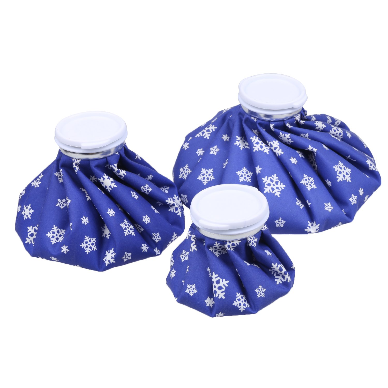 NEWSTYLE Ice Bag, 3 Pack[6'', 9'' &11'' ] Hot And Cold Reusable Ice Bag,Relief Heat Pack Sports Injury Reusable First Aid for Knee Head Leg(Deep Blue Snowflake) by NEWSTYLE