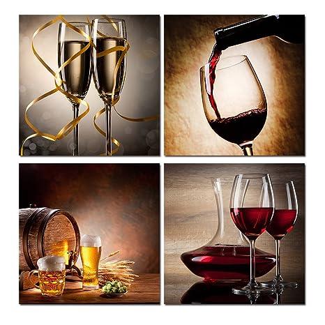 Amazon.com: Púrpura Verbena Arte 4pcs Vino Rojo champaña ...