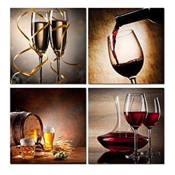 Schon Purple Verbena Art 4pcs Wine Red Champagne Beer Pictures Photo Prints On  Canvas Wall Artwork For