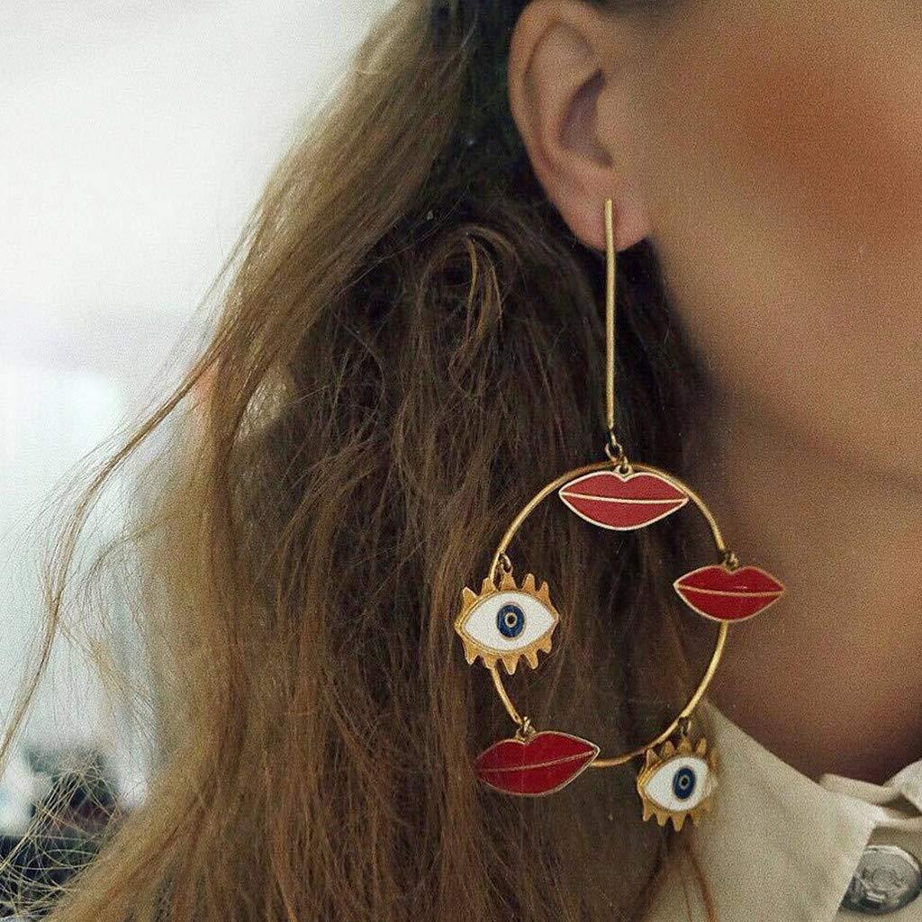 KAKAKI Bohemia Lips and Eyes Hollow Earrings Metal Alloy Vintage Geometric Hollow Out Gold