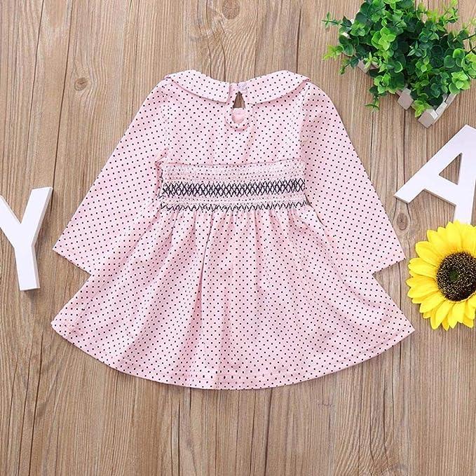 b85d9cf0f Amazon.com: Dinlong Toddler Newborn Infant Baby Girls Dress Long Sleeves  Polka Dot Print Princess Clothes Outfits: Clothing