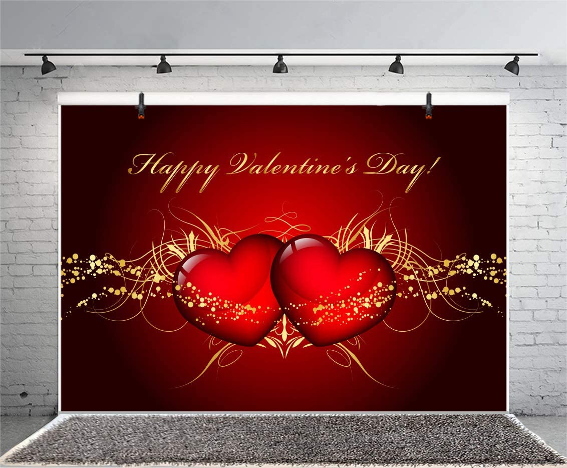 Zhy Polyester Fabric Happy Valentine s Day Backdrop 7x5ft Saint Valentine s Day Photos Background Love Photos Heart-Shaped Decor Bokeh Background Wooden Floor Valentine s Photobooth Studio Props