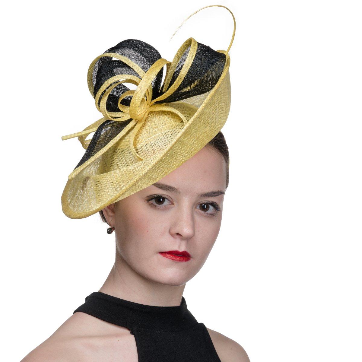 KaKyCo 102059-2 Tone Sinamary Headband Fascinator Cocktail Hats - Yelloe/Black