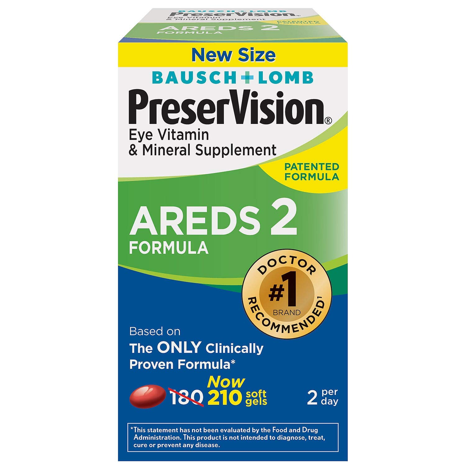 PreserVision AREDS 2 Eye Vitamin & Mineral Supplement with Lutein and Zeaxanthin, Soft Gels, 2 Pack (210ct Each) IUE%FHK by PreserVision