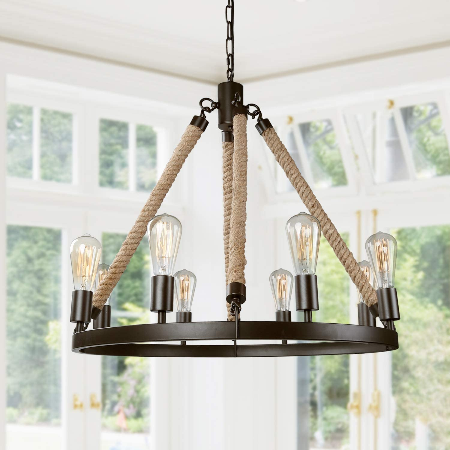 Lnc Farmhouse Chandeliers Large Rustic Round Wagon Wheel 8 Light Fixture With Rope For Dining Living Room Bedroom Kitchen And Foyer Brown