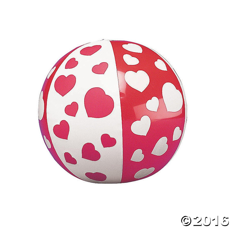 12 Mini HEART Beach Balls/VALENTINES Day DECOR/Party FAVORS/DOZEN/5 by OTC