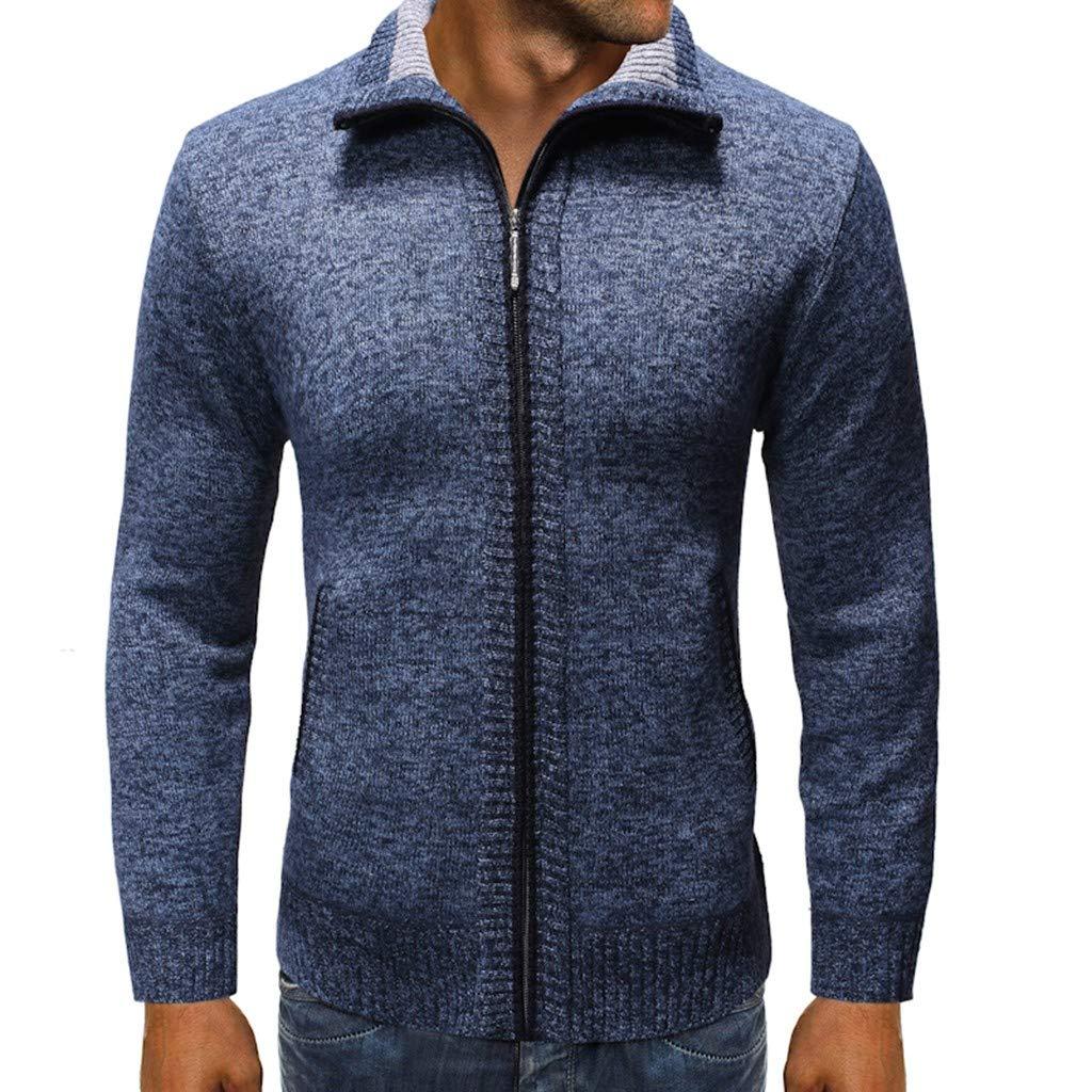 FEDULK Men's Plain Cardigan Sweater Jacket Pure Color Long Sleeve Stand Collar Zipper Comfort Fit Coat(Navy, Medium) by FEDULK