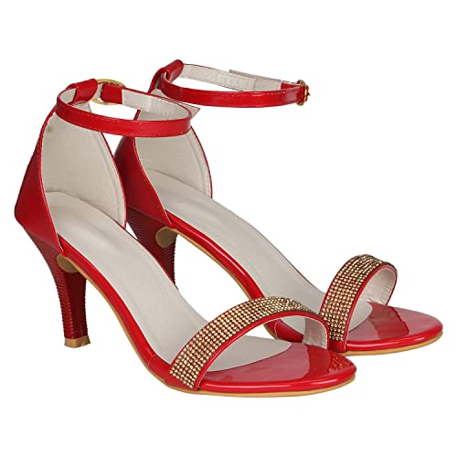 e48afd6bf04 MISTO Vagon Women s Red Suede Leather and Faux Leather Sandals with  Artificial Glass Diamond Work on