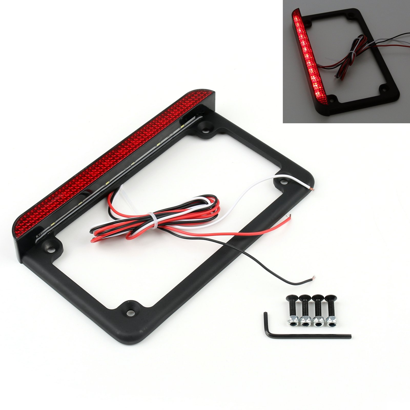 Areyourshop Universal Motorcycle 6'' LED License Plate Frame With LED Tail Brake Light Black