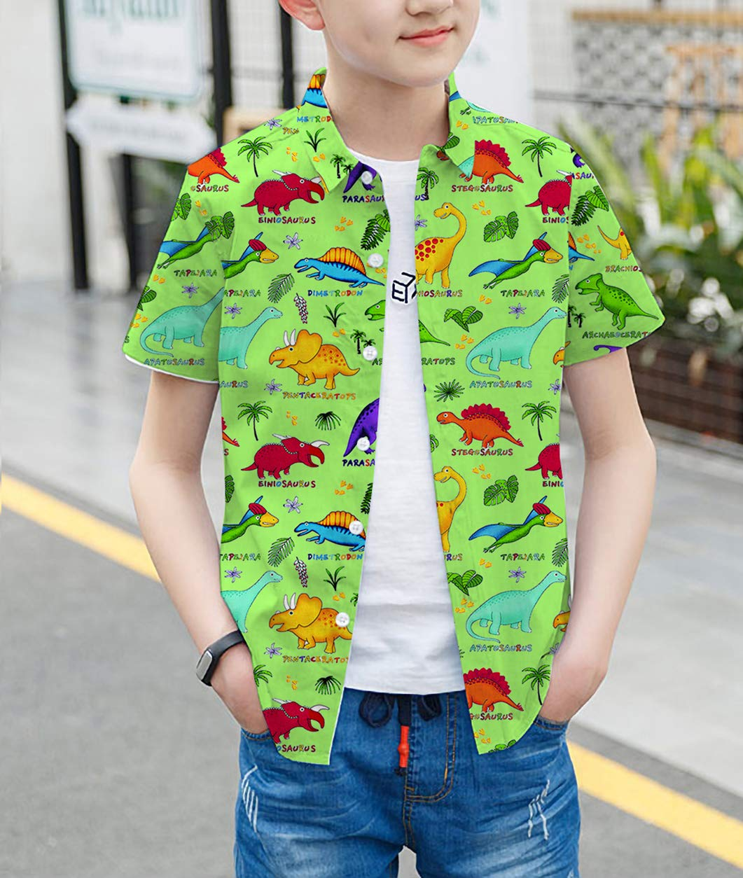Goodstoworld Boys Button Down Shirts Kids Casual Short Sleeve Cotton Button Up Cool Dinosaur Print Tees Tops Blouse 5-6T by Goodstoworld (Image #2)