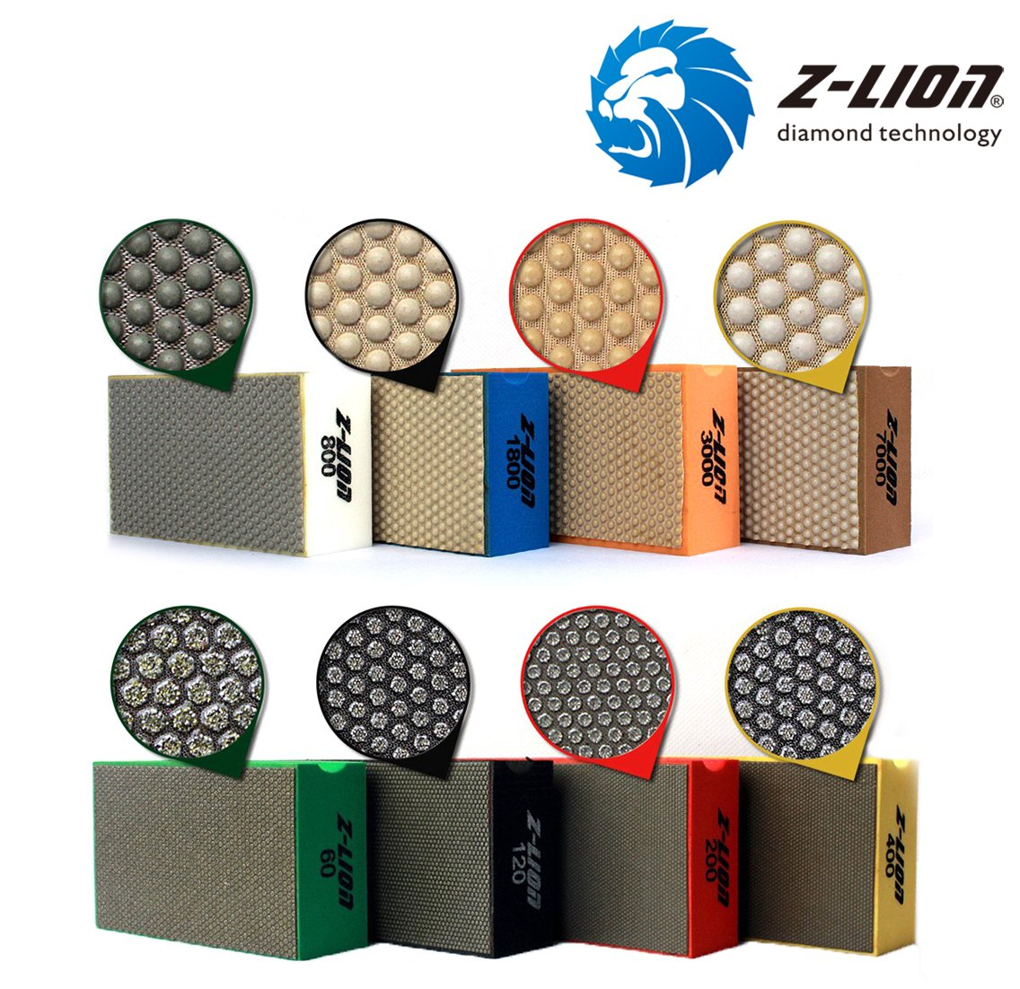 More buying choices for Z-Lion Diamond Hand Polishing Pads Arc Shape Back for Glass Stone - Pack of 8 Pcs by Z-LION (Image #1)