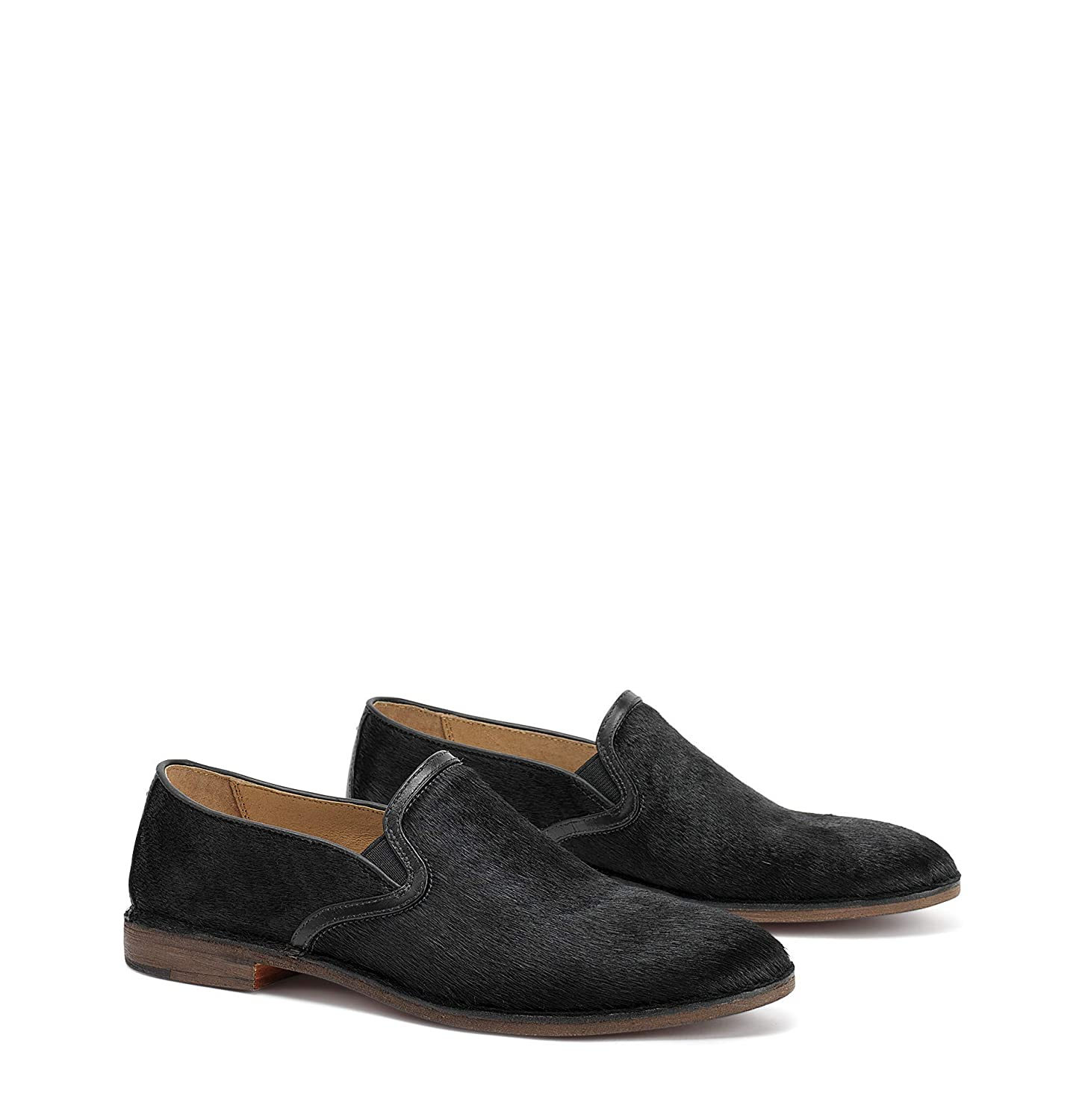 Black Haircalf Trask Womens Ali Round Toe Loafers