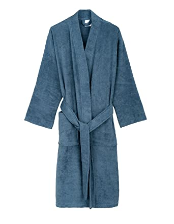 womenu0027s turkish cotton bathrobe terry kimono robe xsmallsmall coronet blue - Terry Cloth Robe