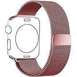 Apple Watch Bracelet 38mm Or Rose, PUGO TOP Magnétique Bracelet Milanais Acier Inoxydable Strap Band pour Apple Watch Sport & Edition 38mm