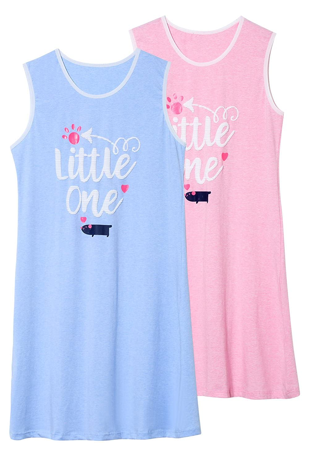 Jashe Big Girls 95% Cotton Blue & Pink Nightgowns 2Pack Super Soft Cute Kids Pajama Sleeveless Clothes FA-EBS