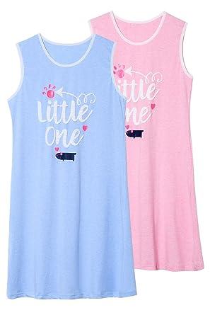 Jashe Big Girls 95% Cotton Blue   Pink Nightgowns 2Pack Super Soft Cute  Kids Pajama 15350013b