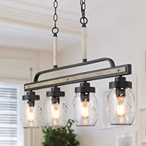 Mason Jar Chandelier, Kitchen Island Lighting in Rustic Faux Wood, Farmhouse Lighting for Dining Room, 30