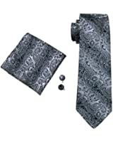Mens Silk Paisley Striped Check Floral 100% Silk Woven Neck Tie , Pocket Square Hanky Cufflink Set