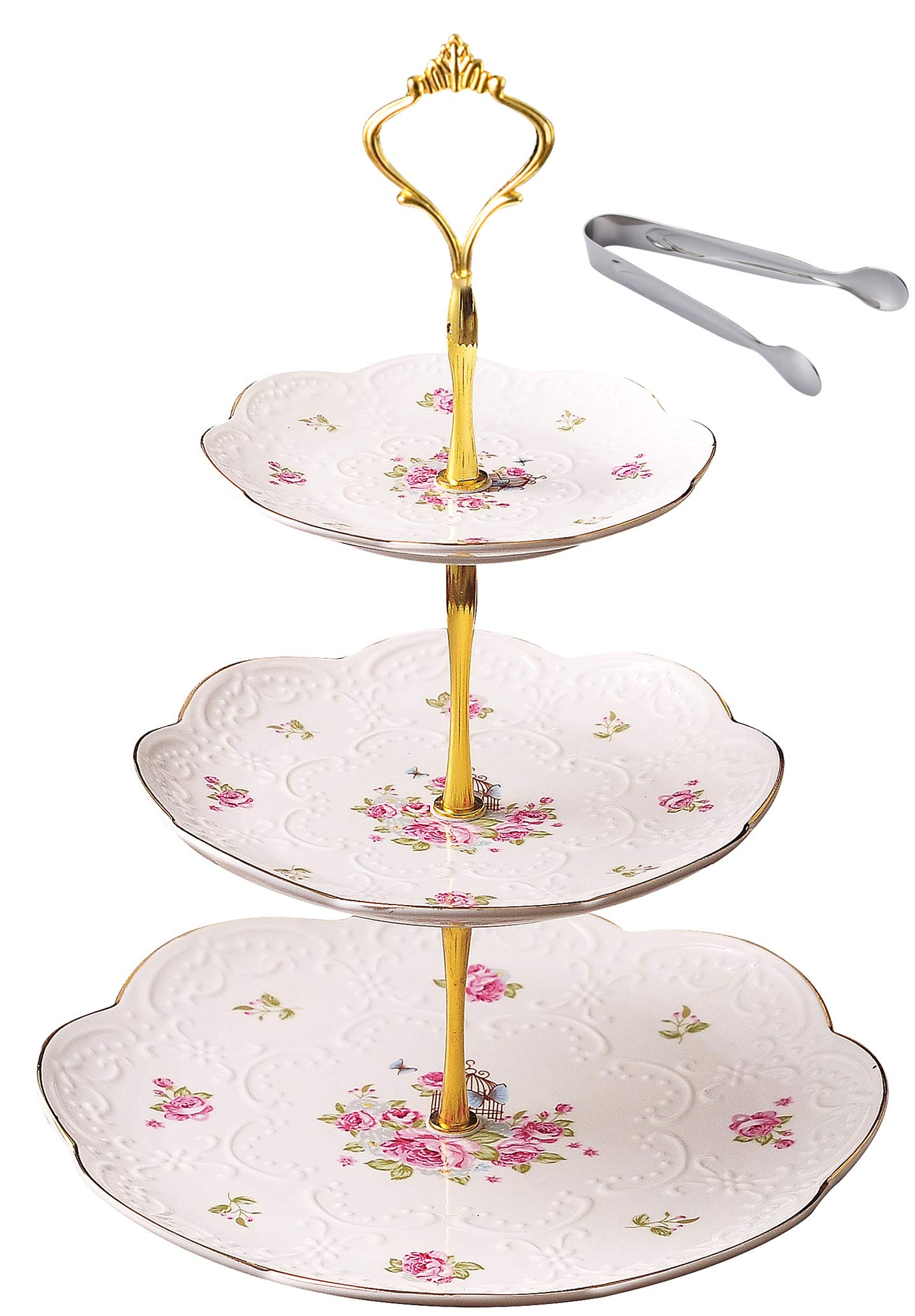 Jusalpha Elegant Embossed 3-tier Ceramic Cake Stand- Cupcake Stand- Tea Party Pastry Serving Platter in Gift Box and a Free Sugar Tong (FL-Stand 03) (3 Tier) by Jusalpha