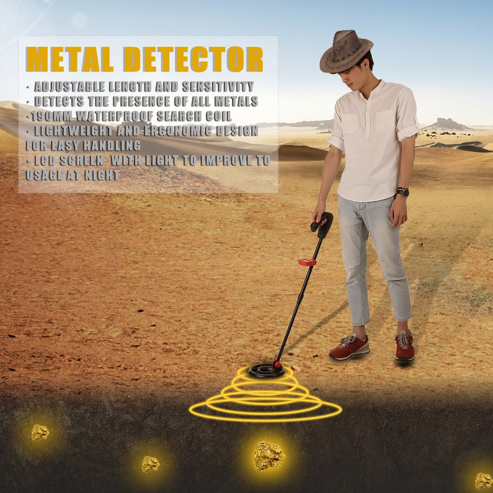 KKmoon Detector de metales a prueba de agua Fuera de b/úsqueda de metales Detector de monedas digital de oro para ni/ños//Hogar