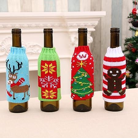 Artículos para el Hogar de Navidad de Alto Grado de Punto Botellas de Cerveza de Navidad Conjuntos de Botellas de Cerveza de Navidad Decorado Conjunto de Botellas de Vino: Amazon.es: Hogar