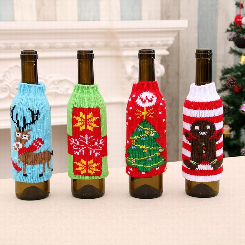 Amazon.com : Christmas Household Items High - Grade Knitted Christmas Beer Bottles Sets of Christmas Beer Bottles Decorated Wine Bottle Sets, A, ...