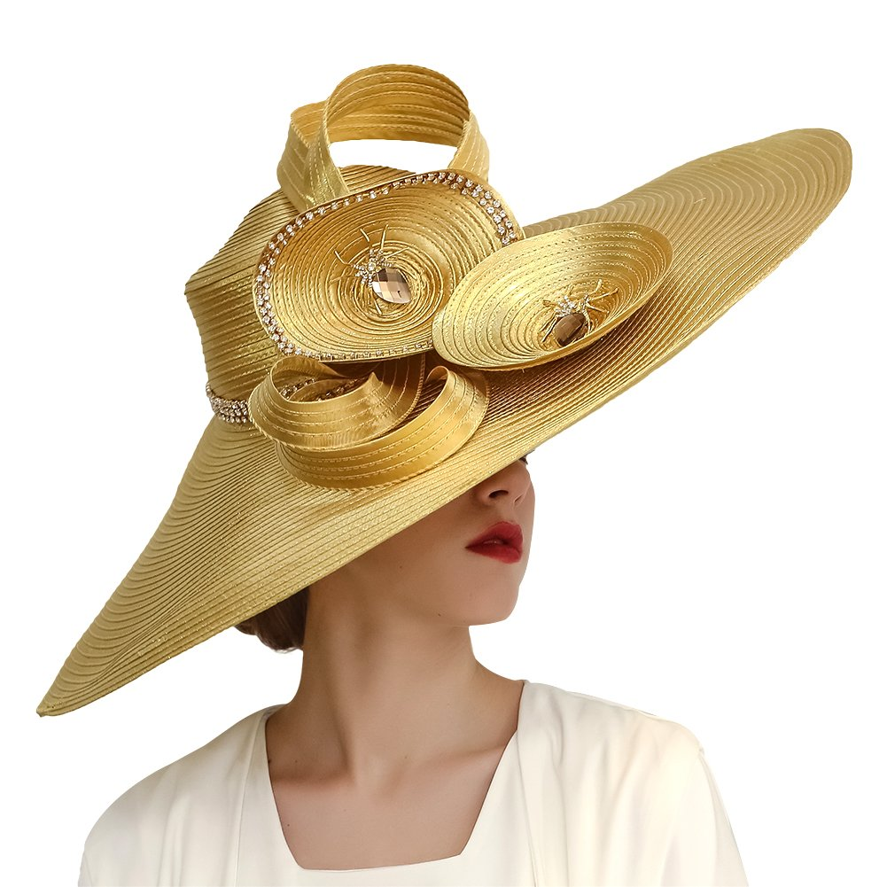 KUEENI Women Hats Hot Red Color Church Hats Lady Party Wear Fedoras Hats (Gold)